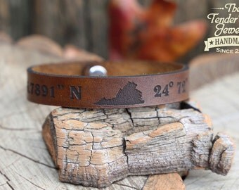 Personalized leather State of your choice Latitude Longitude bracelet GPS Coordinates leather bracelet engraved leather cuff