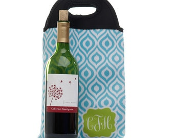 Personalized Wine Tote - Double Bottle Wine Gift Bag - Personalized Wine Holder - Hostess Gifts - Gift for Her - Wine Lover Gift