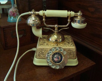 Vintage Ornate French Victorian Style Rotary Phone Fancy Brass Works
