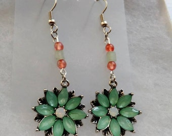 Green Aventurine Flower Earrings with Pink Glass Accents