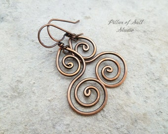 Solid copper earrings / Wire wrapped earrings / wire wrapped jewelry handmade / wire jewelry / copper jewelry / earthy / spiral earrings