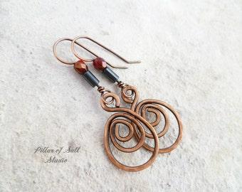 Copper spiral teardrop dangle earrings / wire jewelry / wire wrapped earrings handmade / copper earrings / earthy rustic / red and black