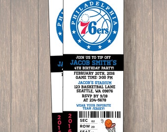12 PER PACK Birthday Party Invitations, philadelphia 76ers Birthday Ticket, Birthday Invitation, philadelphia 76ers