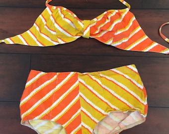 Vintage Bathing Suit, Orange Bikini, Yellow Bikini, Boy Shorts, Bikini, 1960's Bathing Suit, Mod Bikini, Retro Swimwear,  (Fly A Kite)