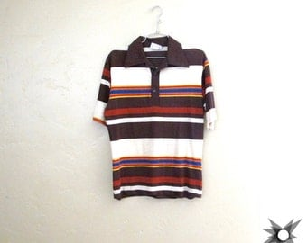 Vintage 1960's/ 70's Off Shore Distressed Paper Thin Collared Striped Surf T-Shirt Size Small/ Medium
