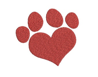 Machine Embroidery Design Instant Download - Love Heart Paw Print 2