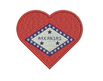 Machine Embroidery Design Instant Download - Heart Arkansas State Flag United States of America USA
