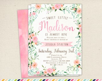 Girl Baby Shower Invitation - Pink Flowers Summer Spring