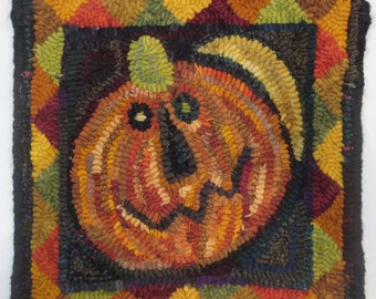 "primitive hand hooked wool rug 10"" x 10"""