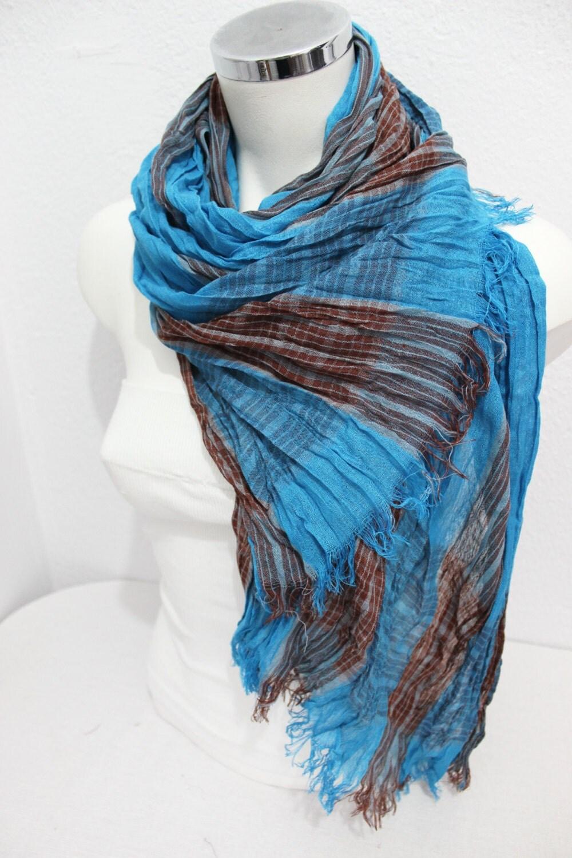 blue scarf striped scarf organic scarf