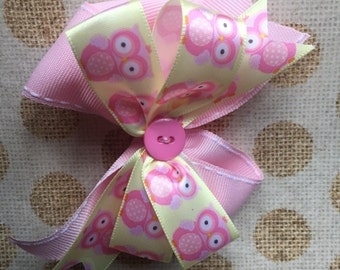 Owl Hair Bow, Owl Hair Clip, Pink Pinwheel Bow - Pink and Yellow Owl Hairbow Clip - Violet Bows