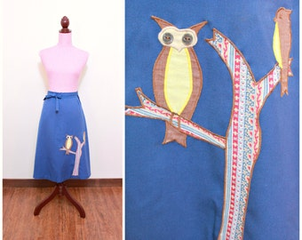 Vintage 1970s Skirt / Novelty Print / Owls / Patchwork / Wrap-around