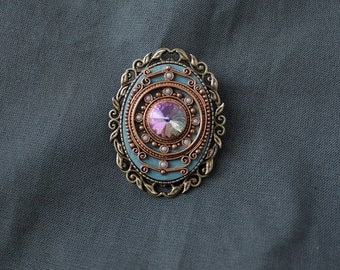 Brooch vintage style, brooch Swarovski, romantic jewelry, romantic brooch