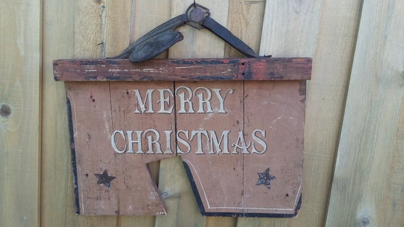 Vintage Merry Christmas Holiday wood sign Rustic Barn Door Wood Farm Horse Saddle Leather metal weathered stars Old Heavy Hanging