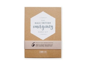 Emergency Kit - The Male Edition // Greeting card set // Inc. envelopes // Discount set // Silkscreened silver gift box