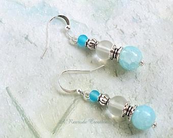 Beaded Earrings Pastel Earrings Beach Earrings Pale Aqua Earrings Gift for Her Office Jewelry Boho Earrings Minimalist Jewelry