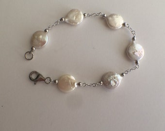 Sterling Silver And Flat Cultured Pearl Bracelet