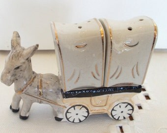 Vintage Salt and Pepper Shakers Donkey and Wagon Japan