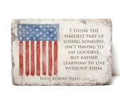 Flag Memorial Stone. PERSONALIZED Military Memorial Gift. 6x9 Tumbled Concrete Remembrance Stone. In Loving Memory. Indoor/ Outdoor Memorial