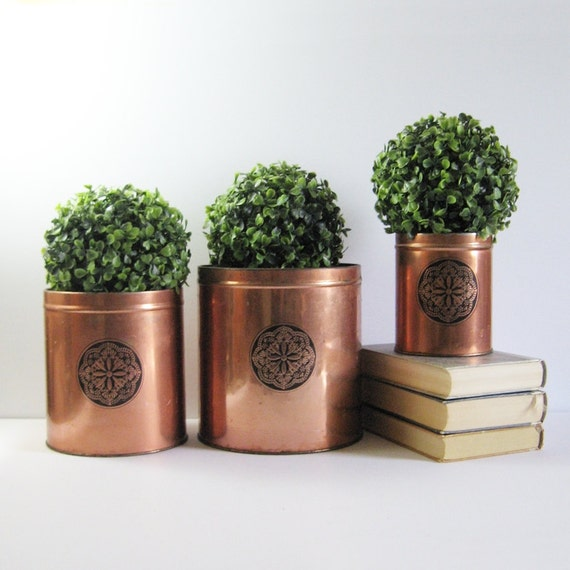 Set Of 3 Vintage Copper Canisters Country Kitchen Decor