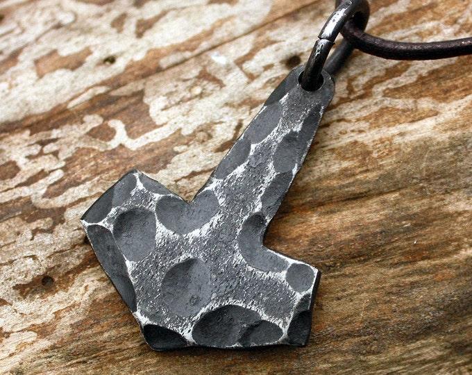 Forged Iron Flat Stone Texture Mjolnir Handmade Viking Thor Hammer Pendant Necklace FM7