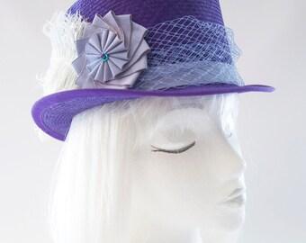 Kentucky Derby Hat. Purple Straw Top Hat. Racing Fashion Millinery. Parasisal Summer Topper. Women's Fancy Purple Top Hat. Cockade, Feathers