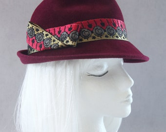 Burgundy Fedora w/ Vintage Silk & Metal Trim. Wine Fur Felt Hat. Women's Low-Crown Fedora. Merlot Trilby, Gold Antique Ribbon. Millinery Hat