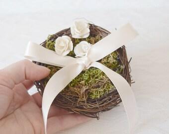 Bird Nest Ring Bearer Pillow, ring pillow alternative, woodland wedding decor, twig nest, woodland ring pillow, ring bearer pillow