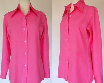 1970s hot pink blouse, long sleeve, button up top with collar, Sears fashions, Large