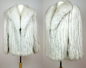 1980s fox fur coat, white arctic fox, blue fox fur, big shawl collar, ribbed fur, short length fur coat, Large to XL