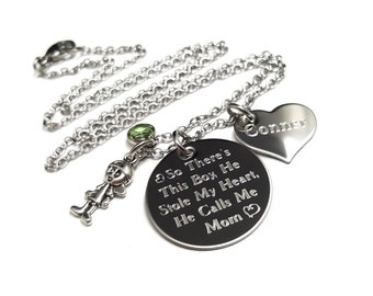 Mother Son Jewelry + Son Mom necklace + Engraved Jewelry + Personalized Jewelry + Mothers day gift