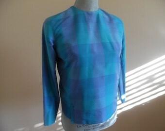 Vintage 1960s Custom-Made Periwinkle and Aqua Buffalo Plaid Long Sleeve Silk Cropped Boxy Blouse