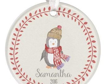 Personalized Christmas Ornament, Penquin Ornament, Christmas Ornament, Holiday Ornament, Ceramic Ornament, Round Ornament, RyElle