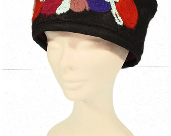 Black Rose Felted Cloche Hat