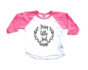 Baby girl clothes, baby clothes, baby girl shirt, pink raglan, baby shirt, toddler shirt, baby girl, girls shirt, raglan, sassy little soul