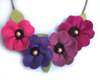 Purple Statement Necklace, Poppy Necklace, Pink and Purple Necklace, Purple Bridesmaid Jewelry, Purple Flower Bib Necklace