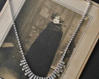 Vintage Rhinestone Baguette Necklace