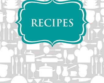 Recipe Binder Printables Sheet Card Kichen Organization Grey Teal Template PDF Editable Cover