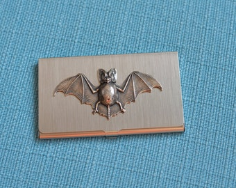 brushed silver tone business card or credit card case with bat