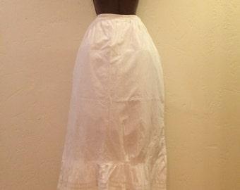 Vintage White Cotton Skirt Half Slip Embroidered Trim
