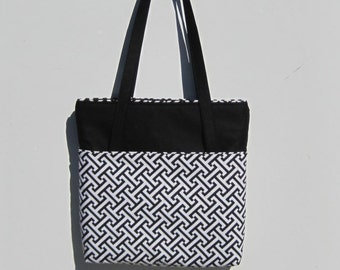 Black and white heavy duty tote bag