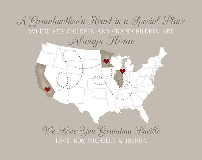 Grandmother Gifts, Gift for Grandma, Christmas Gifts, Grandmas House, Wall Decor Sign, Map Art Print, Nana, Memaw, Great Grandma   WF517