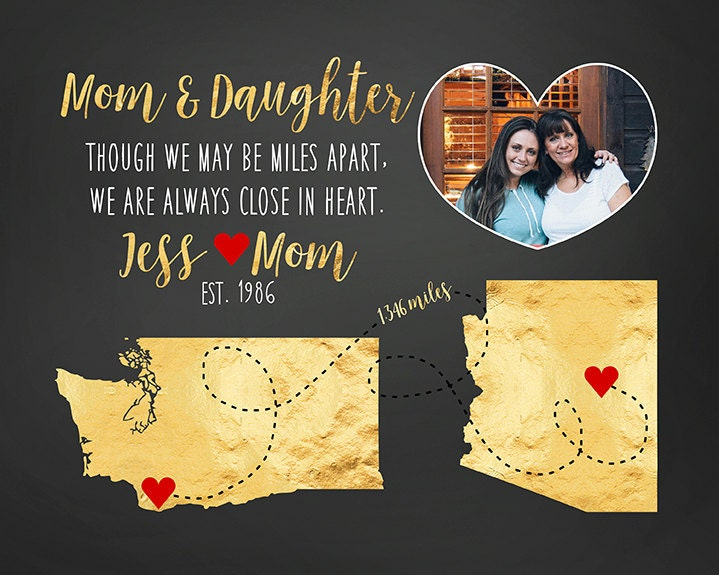 Special Christmas Gifts For Mom Part - 38: Special Mom And Daughter Gift, Long Distance Mother, Family, Miles Apart,  Personalized Christmas Gifts, Gold Foil Style, Red Hearts | WF414