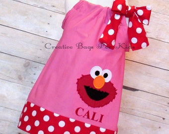 Personalized Elmo dress/ Elmo dress/ Elmo outfit/ Sesame Street dress (matching bag available)