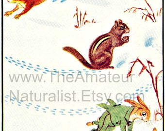 Whimsical Winter Scene with Fairies and Animals Playing, Tracks in the Snow, Digital Download, Vintage Illustration, Antique Print