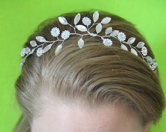 "Crystal Flower and Leaf flexible headband ""Abigail"""