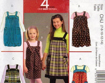 McCalls 5694, Girls Size 7, 8, 10, 12, 14 Jumper Pattern, Bubble Hem Option, Patch Pockets, Gathered at Yoke, Bow Tie At Bodice Top, 4 Looks