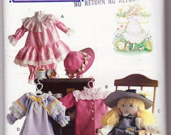 Butterick 147, Holly Hobbie Doll Clothes and iron On Transfer Pattern, Clothes Fit a 16 Inch Doll, Vintage 1990 Doll Wardrobe Pattern
