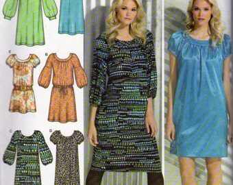 Simplicity 3681, Misses Sizes 4 to 12, Dress Pattern, Gathered at Scoop Neck, Gathered at Lowered Waistline, Short or Three Quarter Sleeves