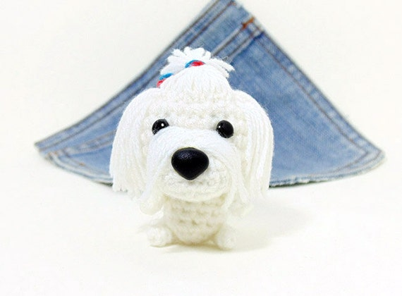 Amigurumi Maltese Puppy Dog toy. Cute Maltese plushie.